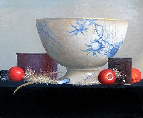Robert Douglas Hunter ,   Arrangement with English Punch Bowl  ,  2005     oil on canvas ,  20 x 24 in. (50.8 x 61 cm)     RDH021105