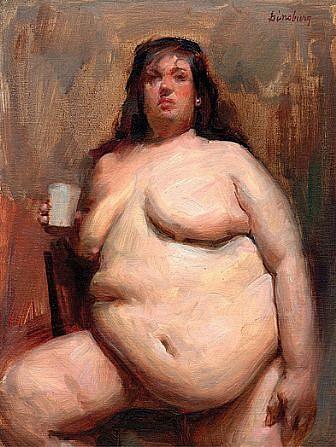 Max Ginsburg, Aviva, Nude Study 3 oil on panel