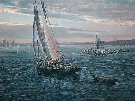 Maarten Platje, Coming Home Late (The Arethusa at Dog Bar Breakwater 1910) oil on linen
