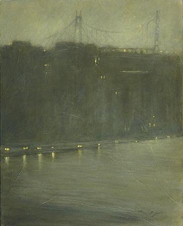 Nina Maguire, East River at 70th Street, NYC 2009, acrylic on canvas mounted with Seikishu rice paper
