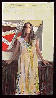 Steve Hawley, Woman With Interlaced Design 2006, encaustic, oil, wax on panel