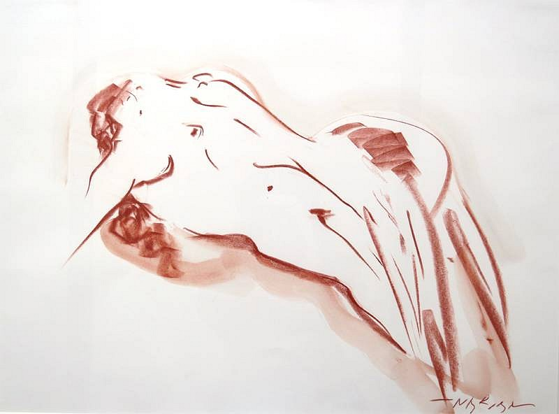 Reuben Nakian ,   Leda and the Swan  ,  1981     Sanguine crayon and wash on paper ,  22 3/8 x 30 1/8 in. (56.8 x 76.5 cm)     RN60.80.036