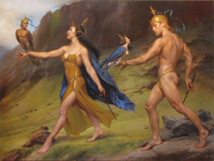 Michael Aviano, A Highland Hike of an Enchantress and her Enchanter 2013, oil on linen