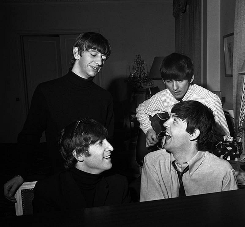Harry Benson ,   Beatles Composing III, All at Piano, Edition of 35  ,  1964     photograph ,  24 x 30 in. (61 x 76.2 cm)     HB120508