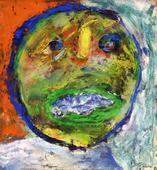 George McNeil, Blue Mouth 1974, oil on paper on panel