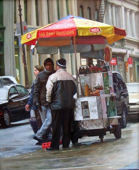Max Ginsburg, Broadway Hot Dog Stand 2006, oil on canvas
