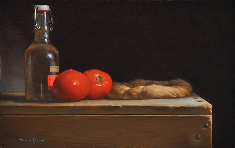 Edward Minoff ,   Focaccia  ,  2012     oil on linen ,  9 x 14 in. (22.9 x 35.6 cm)     EM120801