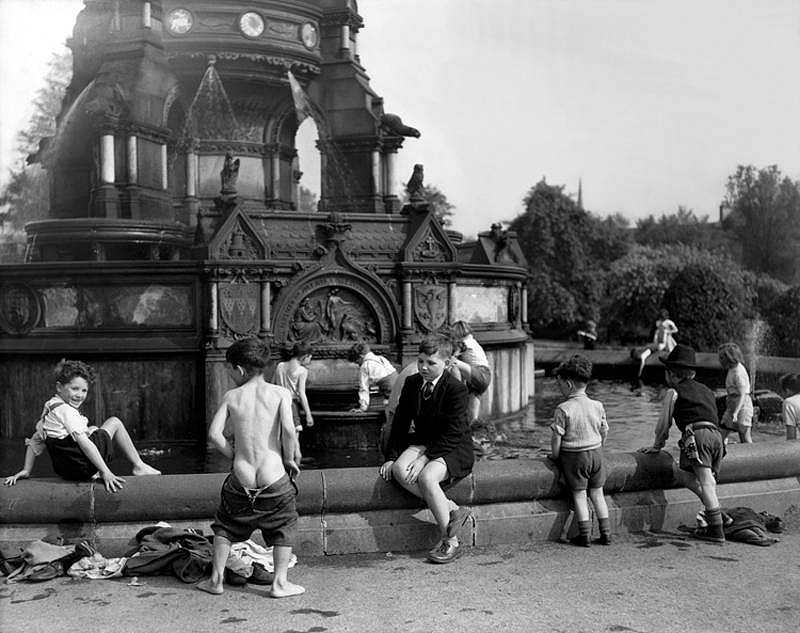 Harry Benson ,   Glasgow Boys in Fountain, Edition of 35  ,  1956     photograph ,  24 x 30 in. (61 x 76.2 cm)     HB120505