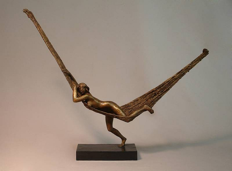 Bruno Lucchesi ,   Hammock, Edition of 6   ,  1981     bronze ,  15 1/2 x 20 x 3 1/2 in. (39.4 x 50.8 x 8.9 cm)     BL110107
