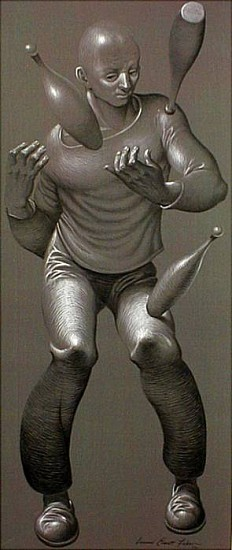 Leonard Everett Fisher, Juggler 1961, gelatine tempera on self-toned paper