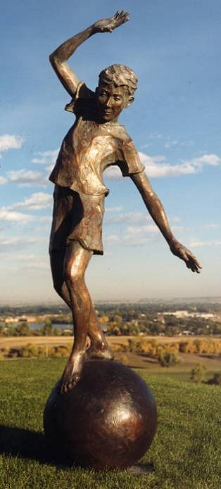 Jane DeDecker ,   Keeping the Ball Rolling, Ed. of 11  ,  1990     bronze ,  90 x 36 x 36 in. (228.6 x 91.4 x 91.4 cm)     JDD01-3