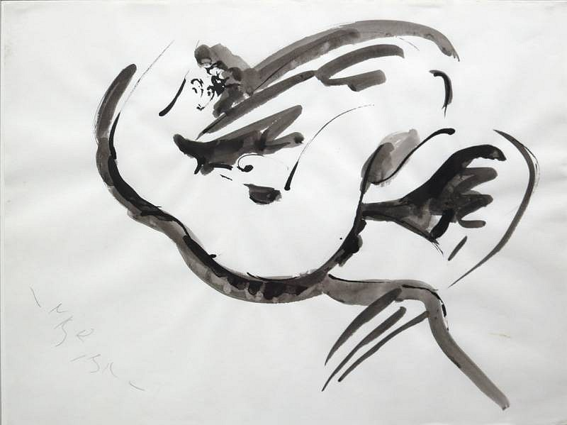 Reuben Nakian ,   Leda and the Swan  ,  1978     ink on paper ,  24 x 18 in. (61 x 45.7 cm)     RN60.70.065