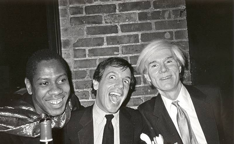 Bob Colacello, Andre Leon, Steve Rubell, and Andy Warhol, Bianca Jagger's Birthday Dinner, Mortimers 1981, silver gelatin photograph