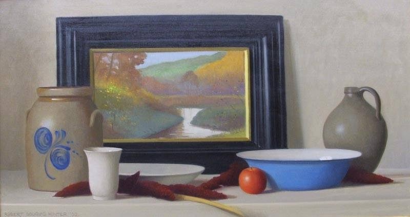 Robert Douglas Hunter, Still Life with an Autumn Landscape 2006, oil on canvas