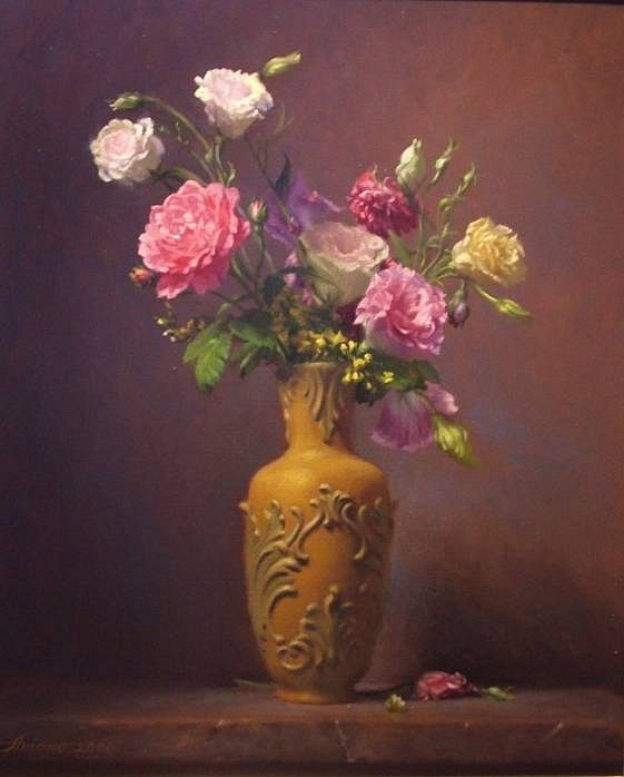 Michael Aviano ,   Roses & Lisianthus  ,  2006     oil on canvas ,  20 x 16 in. (50.8 x 40.6 cm)     MA010806