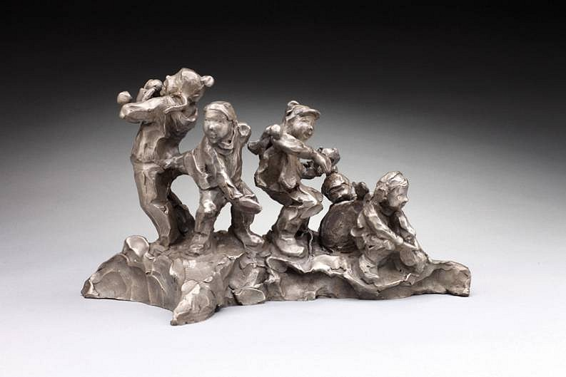 Jane DeDecker ,   Winter Games, Ed. of 31  ,  2009     bronze ,  9 x 13 1/2 x 8 in. (22.9 x 34.3 x 20.3 cm)     JD031209