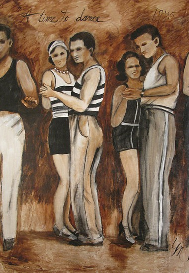 Molly Dee, A Time to Dance, 1945 mixed media on canvas