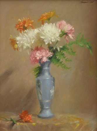 Michael Aviano ,   Mums in a Blue Vase  ,  1977     oil on board ,  15 1/2 x 11 1/2 in. (39.4 x 29.2 cm)     MA010406