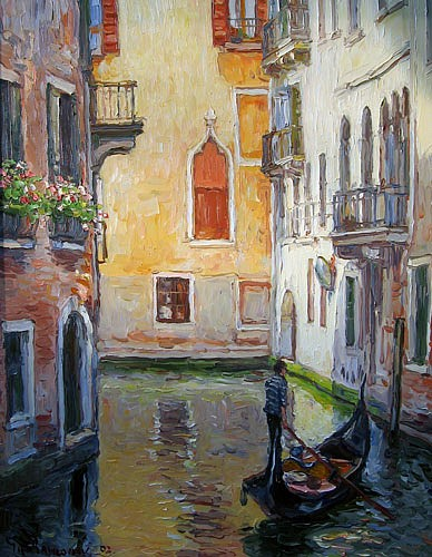 Jan Pawlowski ,   Venice Canal      oil on canvas ,  3024 in. (76.3 cm)     JP041105