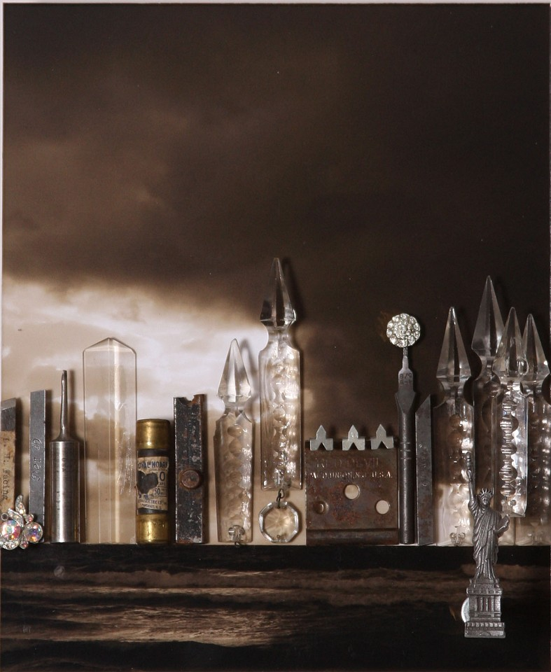 Debranne Cingari (ASSEMBLAGES) ,   Romantic City  ,  2012     mixed media assemblage ,  15 1/2 x 13 1/2 x 4 3/8 in. (39.4 x 34.3 x 11.1 cm)     DC120504