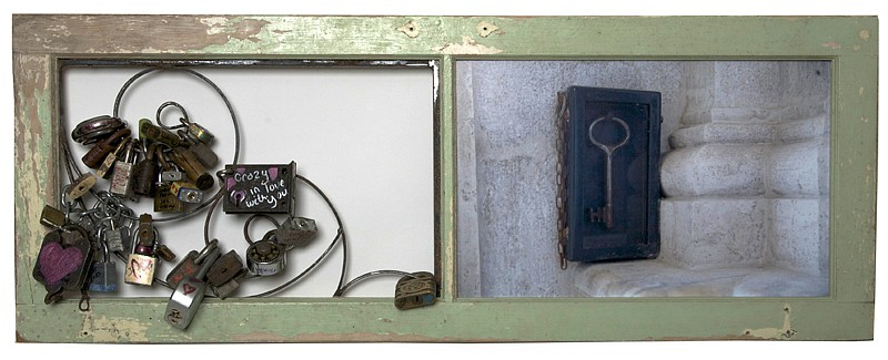 Debranne Cingari (ASSEMBLAGES) ,   Our love is forever bound, you hold the key  ,  2011     mixed media assemblage ,  16 x 42 in. (40.6 x 106.7 cm)     DC110404