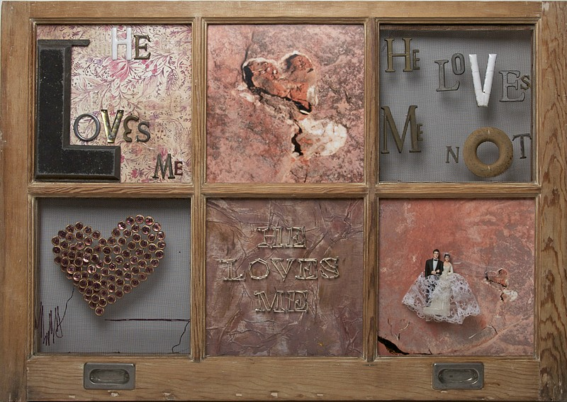 Debranne Cingari (ASSEMBLAGES) ,   He Loves Me  ,  2011     mixed media ,  24 x 34 1/2 in. (61 x 87.6 cm)     DC110201