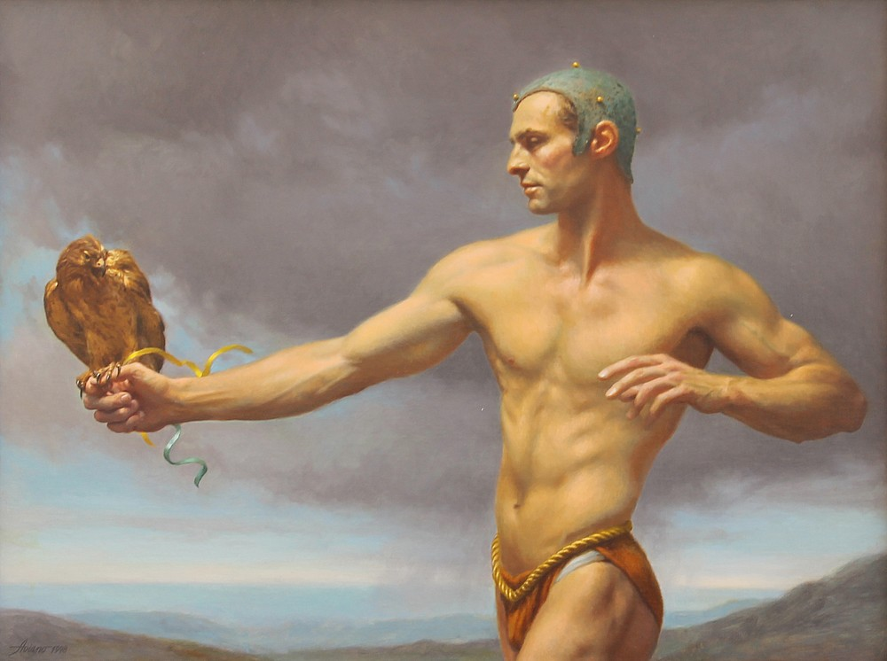 Michael Aviano ,   The Falconer      oil on canvas ,  24 x 32 in. (61 x 81.3 cm)     MAFalc