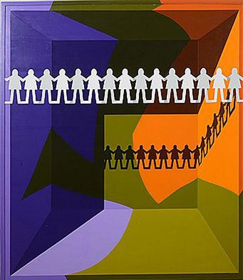 Leonard Everett Fisher, Arrangement #4, Paper People 1970, acrylic on board