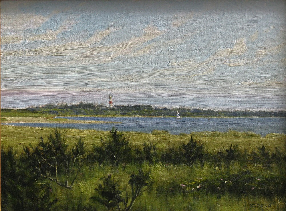 Frank Corso ,   Sankaty Light View  ,  2014     oil on canvas ,  12 x 16 in. (30.5 x 40.6 cm)     FC140703