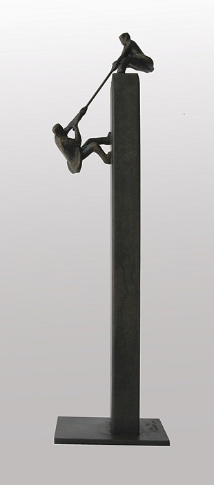 Jim Rennert ,   Teamwork, maquette, Edition of 9  ,  2011     bronze and steel ,  11 x 3 x 3 in. (27.9 x 7.6 x 7.6 cm)     JR110701