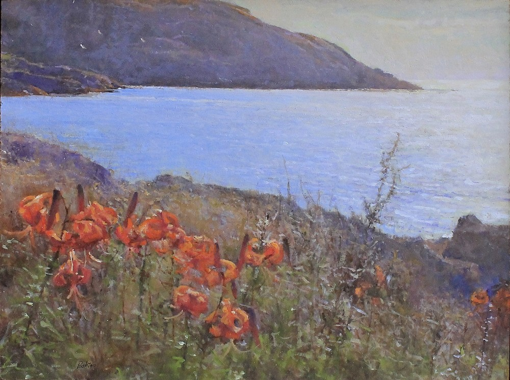 Peter Poskas ,   Gulls & Lilies, Monhegan      oil on panel ,  13 1/2 x 18 in. (34.3 x 45.7 cm)     PP141202
