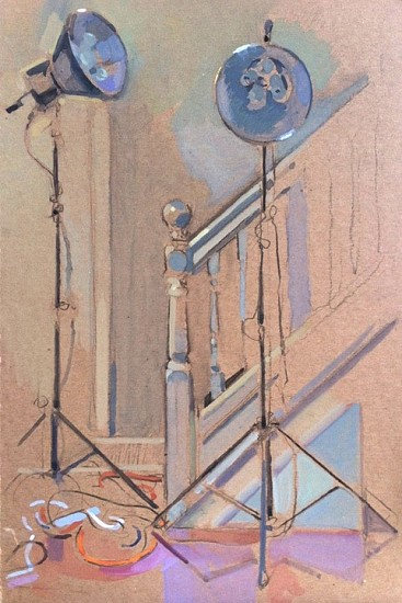Simon Levenson, Lamps and Bannister 2014, Gouache and Charcoal on Board