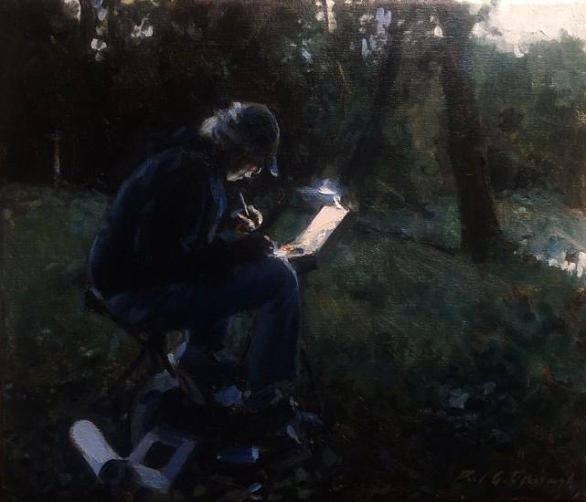 Paul Oxborough, Painter at Dusk 2015, oil on linen