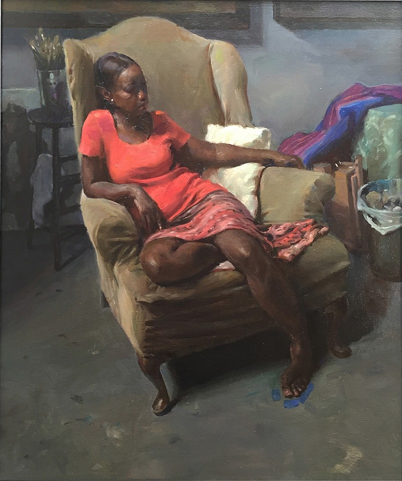 Max Ginsburg ,   Connie in old studio chair  ,  2015     oil on canvas ,  28 x 24 in. (71.1 x 61 cm)     MG150901