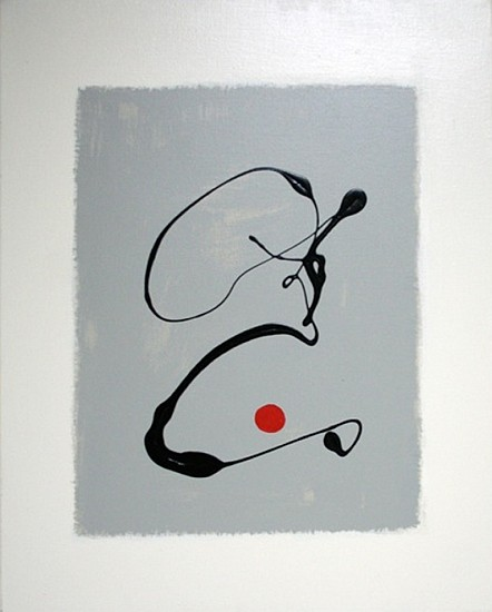 Maureen Chatfield, Black Drip, Red Dot 1 oil on canvas