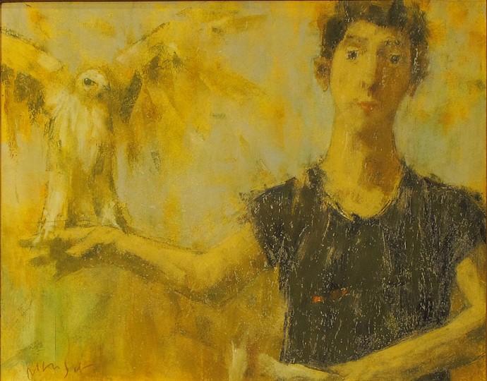 David Aronson, Man with Bird 1999, oil pastel