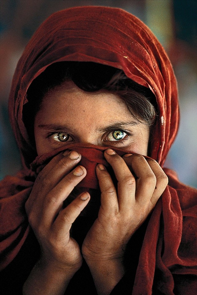 Steve McCurry ,   Afghan Girl Hiding Face  ,  1984     FujiFlex Crystal Archive Print ,  40 x 60 in. (Inquire for additional sizes)     AFGRL10002