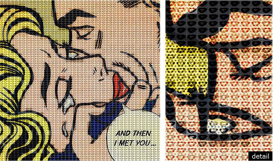 Alex Guofeng Cao ,   A Thousand Kisses Deep, Lichtenstein vs. Warhol  ,  2014     ink and oil on canvas and mirror in artist's frame ,  46 x 46 in. (116.8 x 116.8 cm)     AC150604