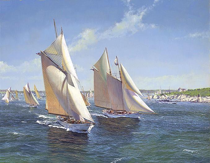 Maarten Platje, The Fleet of the NYYC leaving Newport in 1896 oil on canvas