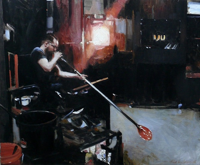Paul Oxborough, Glass Blower 2015, oil on linen