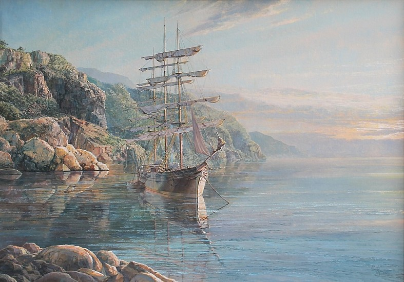 Maarten Platje, Last of the Great East India Fleet (Clipper Ship Mindoro) oil on canvas