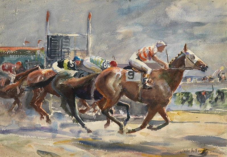 John Whorf, Approaching the Finish watercolor on paper