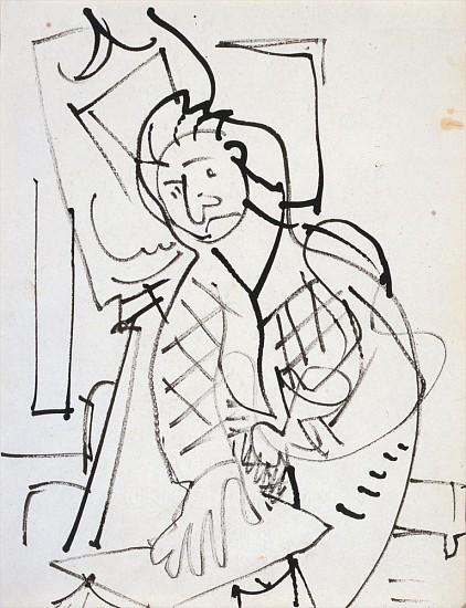 Hans Hofmann, Self Portrait c. 1935, india ink on paper