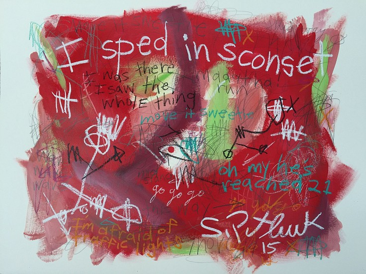 Stephen Pitliuk, I Sped in Sconset 2015, mixed media on paper
