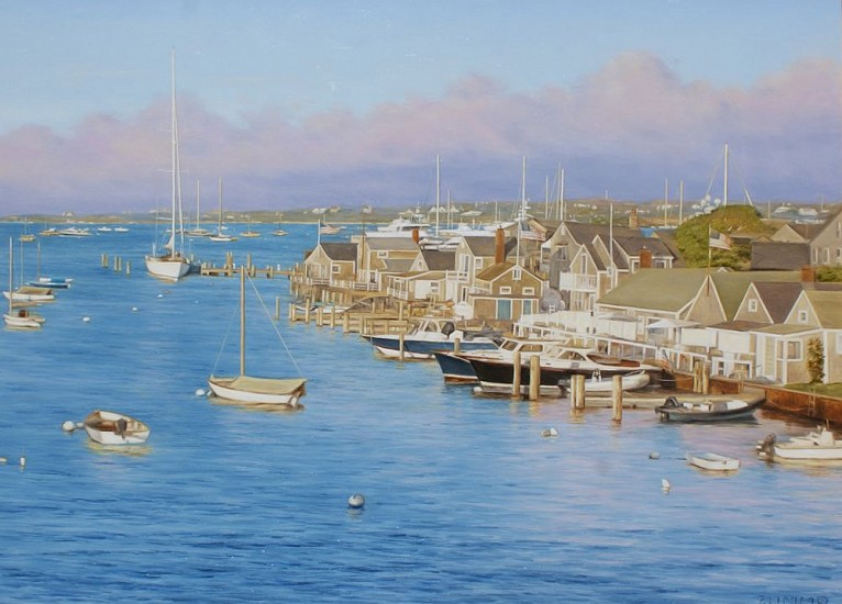 Lori Zummo, Clearing Storm on Nantucket Harbor 2016, oil on panel