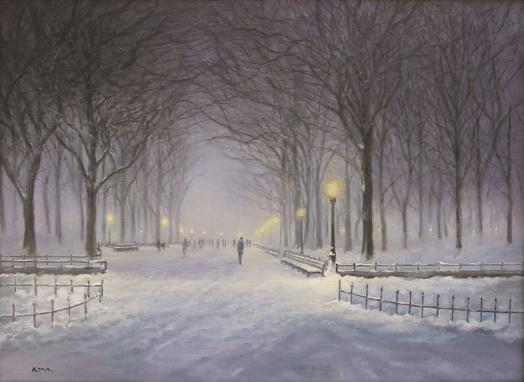 Marla Korr, Evening on the Mall 2016, oil on linen