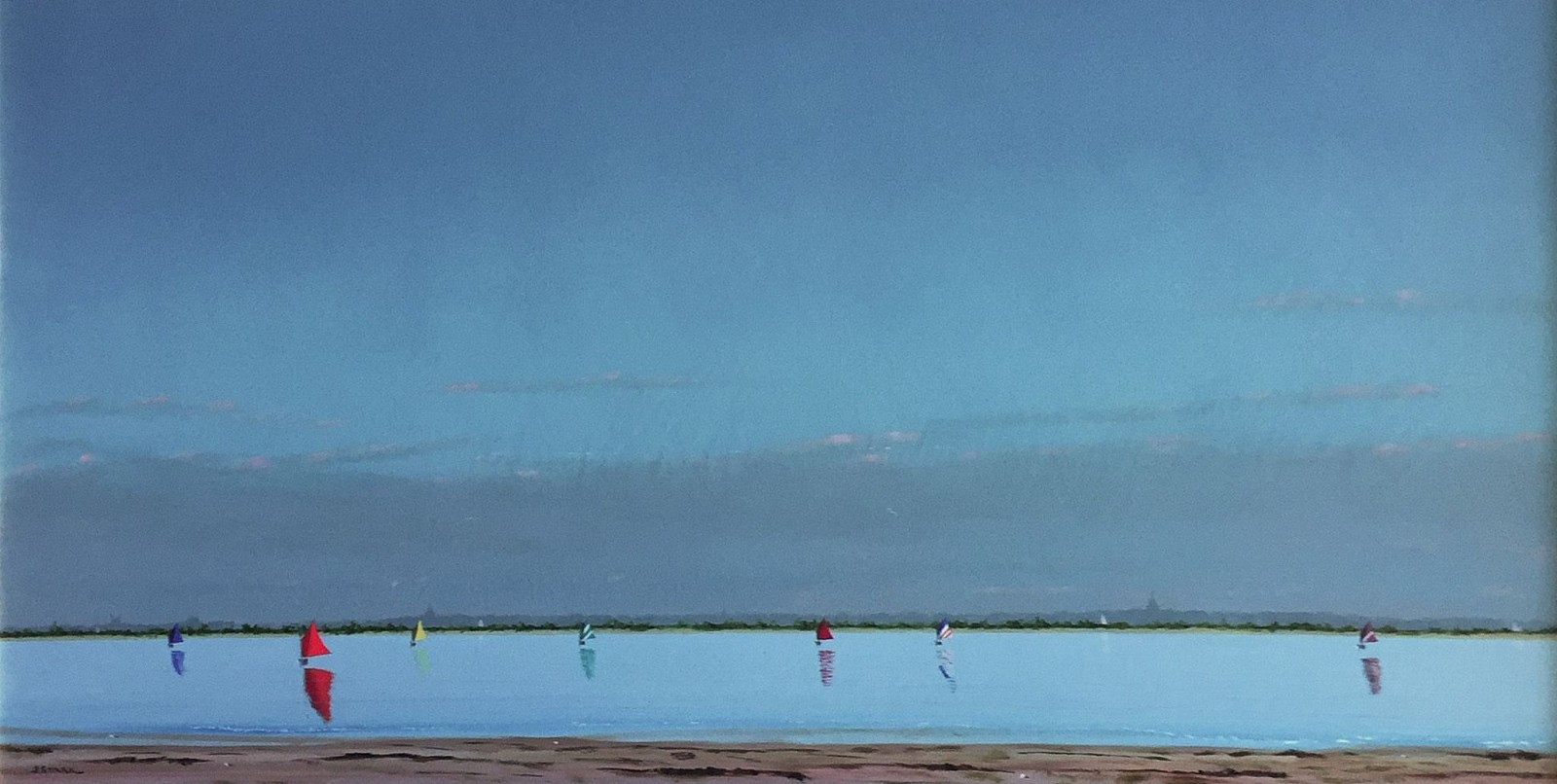Robert Stark ,   Between 1st and 2nd Point      oil on panel ,  18 x 36 in. (45.7 x 91.4 cm)     RS161001