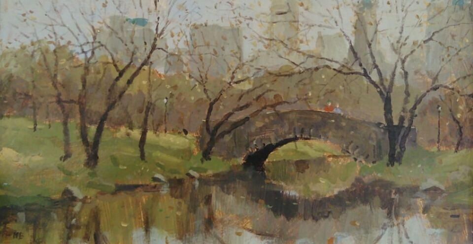 Nicholas Berger ,   The Gapstow Bridge, study in Fall  ,  NB161102     oil on panel ,  6 x 10 3/4 in. (15.2 x 27.3 cm)     NB161102