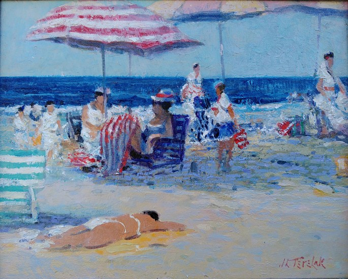 John Terelak, A Day at the Beach, Nantucket 2016, oil on board
