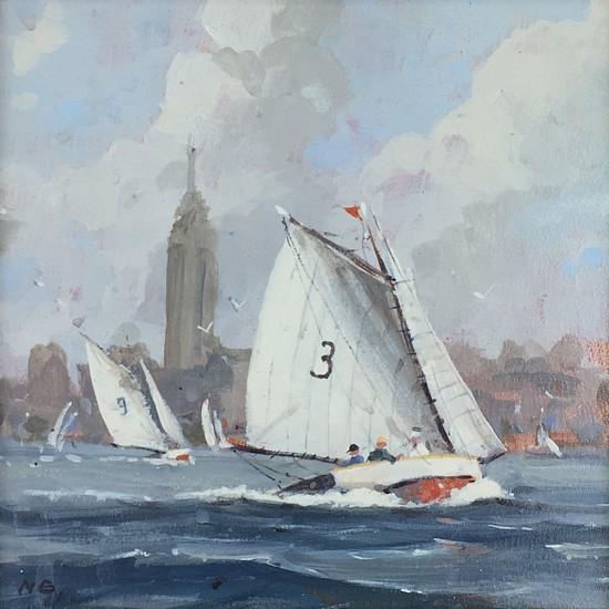 Nicholas Berger, City Sailing, study 2016, oil on panel